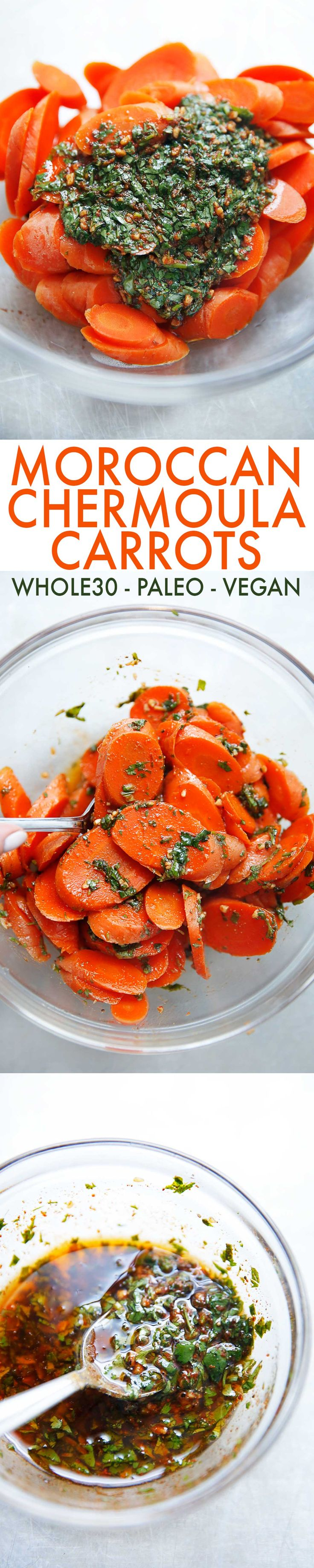 These Moroccan Chermoula Carrots are made with perfectly cooked tender carrots that are tossed in a flavorful and easy chermoula sauce! They are a delicious and easy carrot side dish recipe to accompany any meal