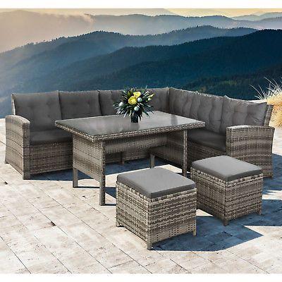 Kaufen   Sie bequeme Gartenmöbel Irland für Ihr Haus POLYRATTAN GARTENMÖBEL ESSGRUPPE Gartenset Sitzgruppe Tisch