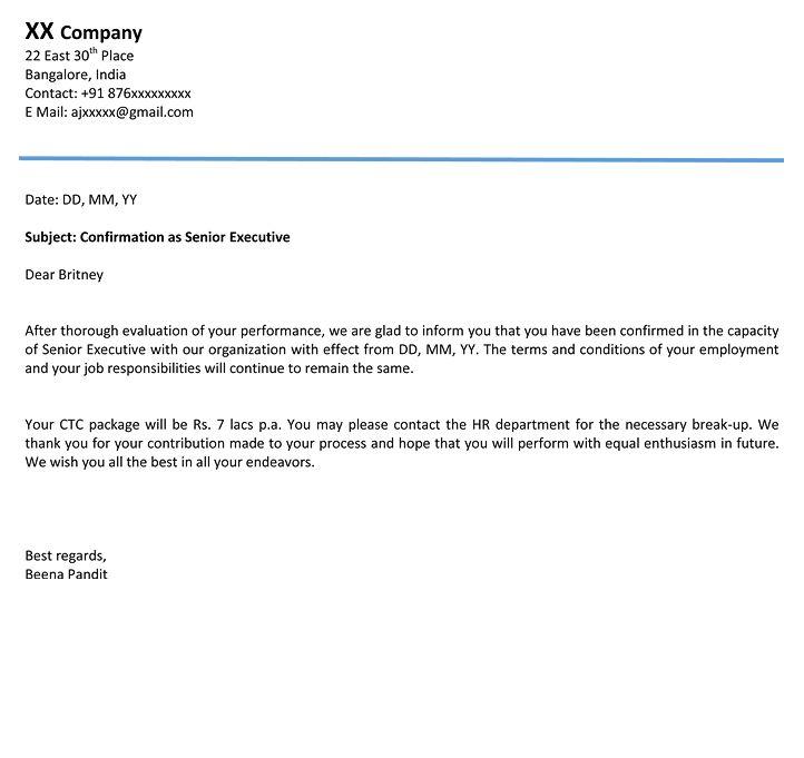 Confirmation letter format confirmation mail sample naukri