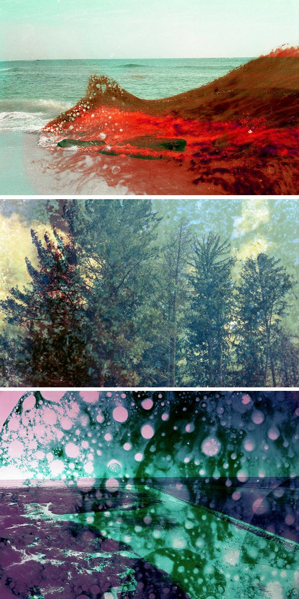 In an effort to raise awareness of the effect that toxic chemicals can have on our environment, Brandon Seidler fuses the actual chemicals with his photographs taken in that area to juxtapose both toxin and landscape in disturbingly vibrant photographs created from his film manipulations.