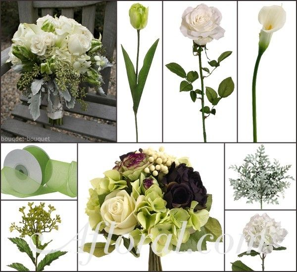 Cream Open Roses, Calla Lilies and Hydrangea, and Spring Green Tulips & Greenery.  For your bridesmaid bouquet, I chose a premade Hydrangea and Rose Bridal Bouquet with a little eggplant purple and green to match your color scheme.