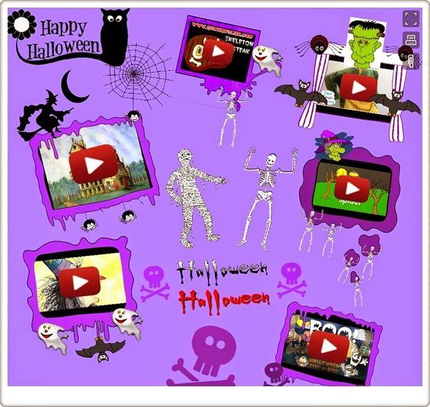 Mural interactivo, con canciones y vídeos relativos a Halloween, elaborado por Esperanza Moreno en http://espemoreno.blogspot.com.es/. Para educación infantil y educación primaria hasta 5º nivel.