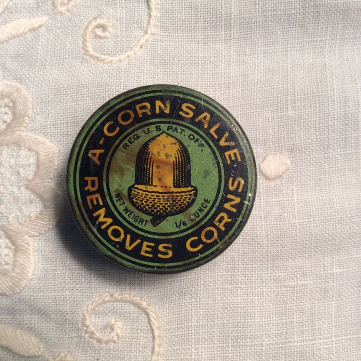 Vintage Round A-Corn Salve Advertising Tin, 1940's 1950's Primitive Antique Medical Tin, Farmhouse Medicine Cabinet by MargiesCoolStuff on Etsy
