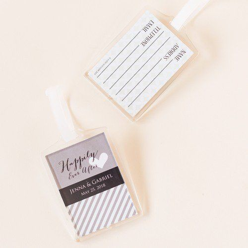 Personalized Acrylic Luggage Tag Wedding Favors by Beau-coup