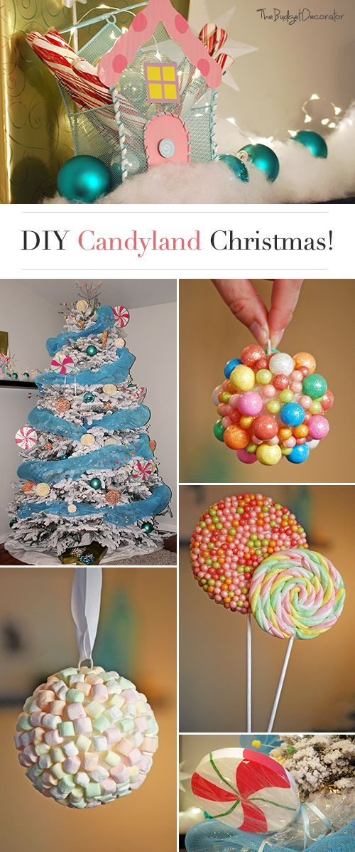 Candy-Land Christmas Theme Tree • Check out these DIY projects and tutorials for candy land ornaments and decorations from The Budget Decorator!