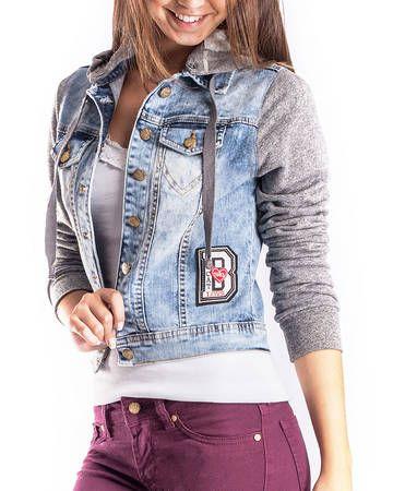 BadCat - Jaqueta Jeans com Manga de Moletom Escura