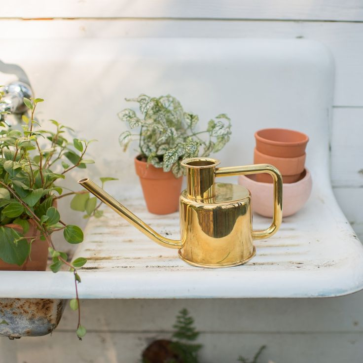 The everyday watering can gets an elegant update, using a single metal tube, bent three times to create the handle and pour spout. Like traditional watering cans, it can be held in two positions — on top for carrying water and at the side for pouring. Made from solid, un-lacquered brass, this piece will patina and only get better with time.