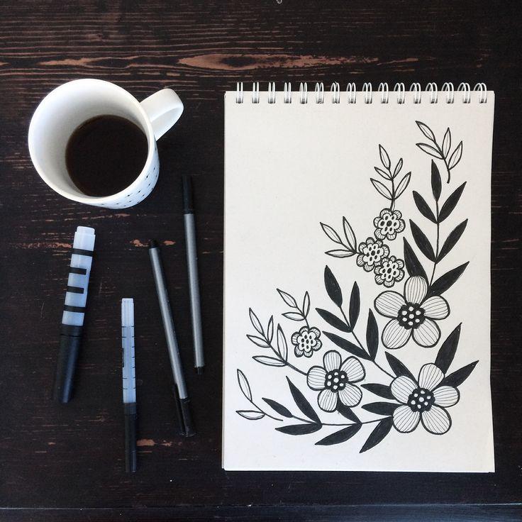Botanical drawing. Pattern. Illustration. Floral drawing. Sketchbook. By Johanna Sandberg.