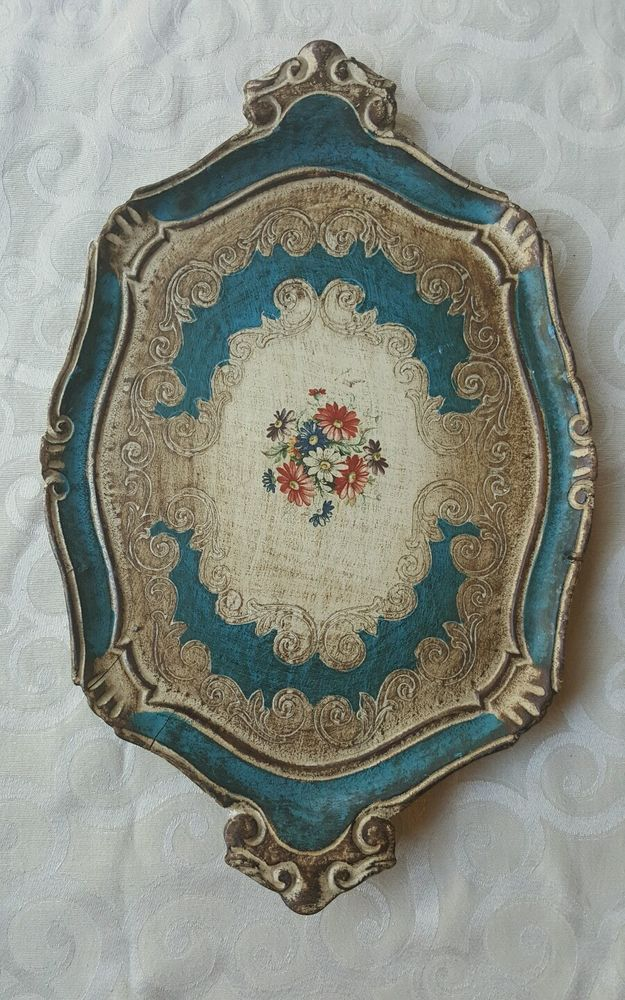 RARE VINTAGE ITALIAN GOLD FLORENTINE TRAY HAND PAINTED BLUE GOLD FLOWERS in Antiques, Decorative Arts, Woodenware | eBay