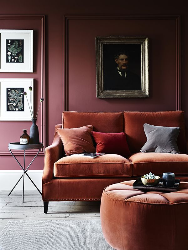 Red Living Rooms, Sofa Ideas, Velvet Sofa, Mauve Walls, Red Walls, Design  Trends, Decorative Pillows, Rust, Red Sofa