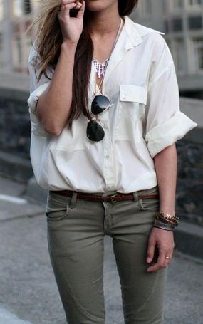 white shirt army pants