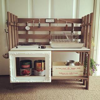 100均DIYで飾りながら収納しよう すのこで作るキッチンもおすすめ♡|cuta [キュータ]