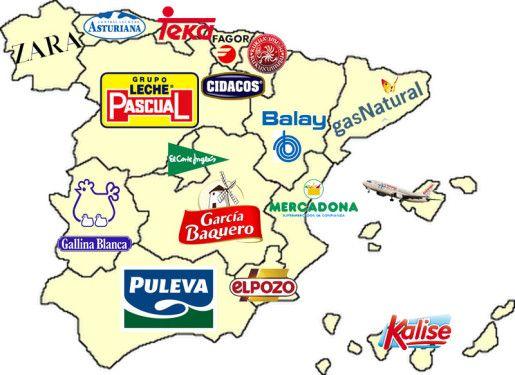 El mapa corporativo de España: Algunas empresas de consumo más representativas originarias de cada Comunidad Autónomas, excluidas entidades financieras