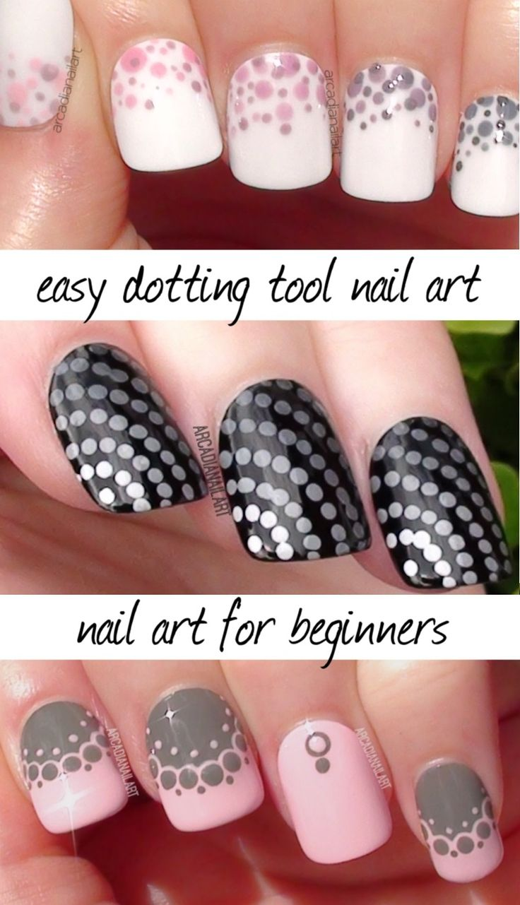 3 easy dotting tool designs, nail art for beginners video over on the Youtubes! - http://youtu.be/gWX3iBWmirM #nailart #arcadianailart #dottingtools