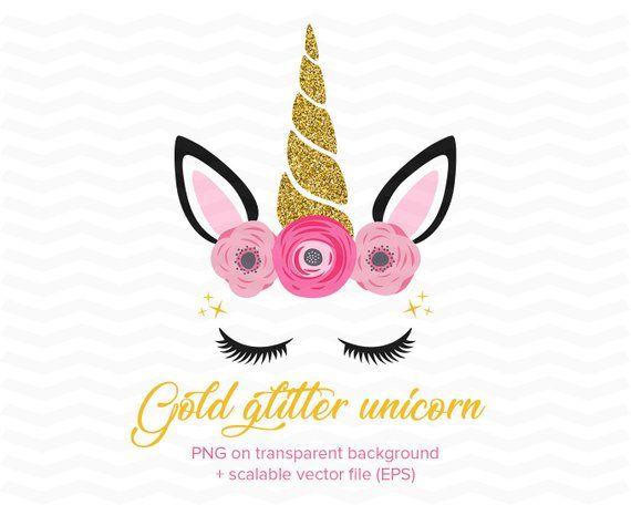 Glitter Unicorn Face Clipart Gold Shimmer Unicorn Head Unicorn Clip Art Pink Flowers Unicorn Glittery Unicorn Png Eps Vector Unicorn Face Unicorns Png Unicorn Illustration