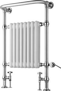 Our popular traditional towel radiator is now back in stock! Unlike other traditional heated towel rails, this AMALIA radiator can accommodate an electric element inserted from the side and may be used solely by electric only or dual fuel.