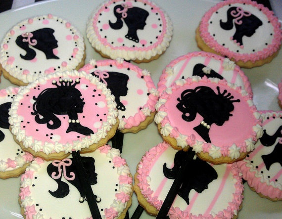 15 Barbie Silhouette Decorated Sugar Cookies By