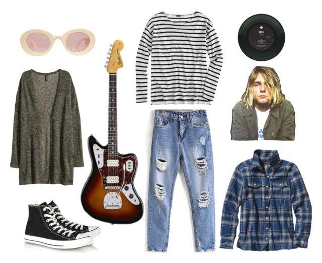 Kurt Cobain by floweeez on Polyvore featuring Patagonia, H&M, J.Crew, Converse, Fraiche, kurtcobain, nirvana, grunge and 90s