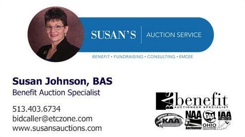 Susan Johnson, BAS (Benefit Auction Specialist) Auctioneer