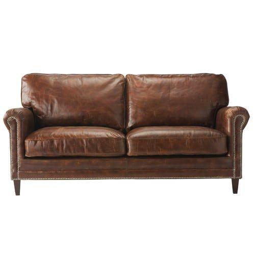 Sofá de 2 plazas de cuero marrón