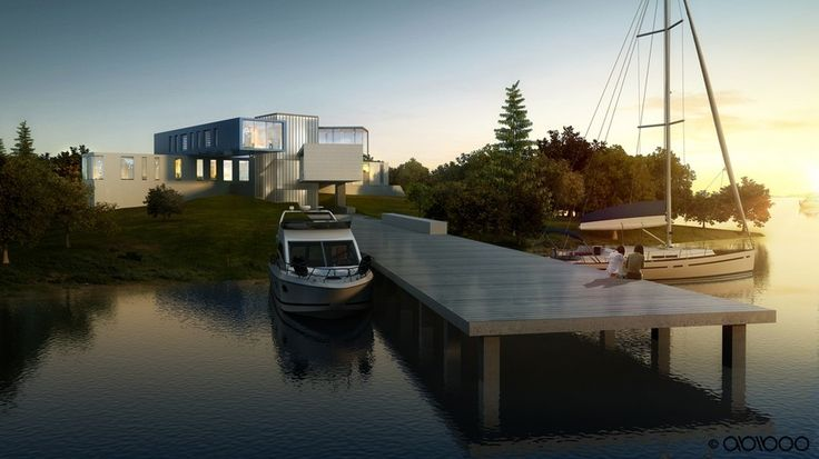 #containerhome #shippingcontainer #shippingcontainerhome | This 17,000 sq. ft. (1.600 m2) villa by Abiboo is located in the South-Hamptons with the sea surrounding the plot on two 2 sides. The family's passion for boating inspires the integration of the home with the seascape.