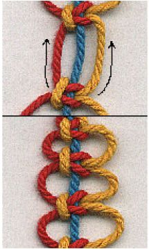 Nudos de macramé con 3 hilos