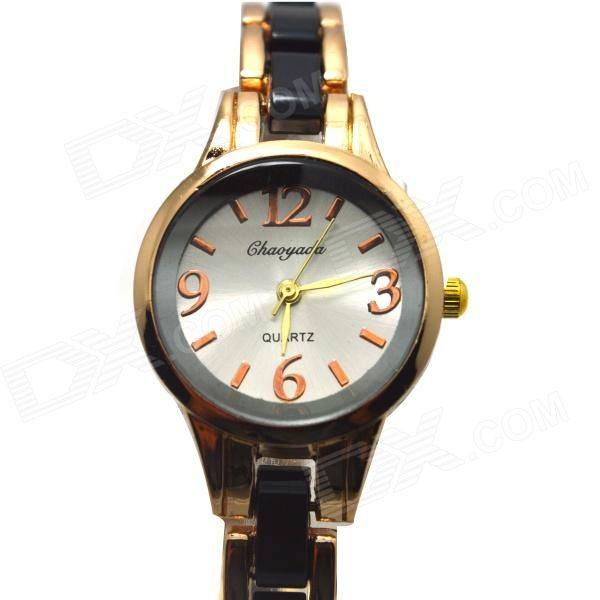 Chaoyada Fashionable Round Dial Analog Quartz Wrist Watch for Women - Golden + Black - Free Shipping - DealExtreme