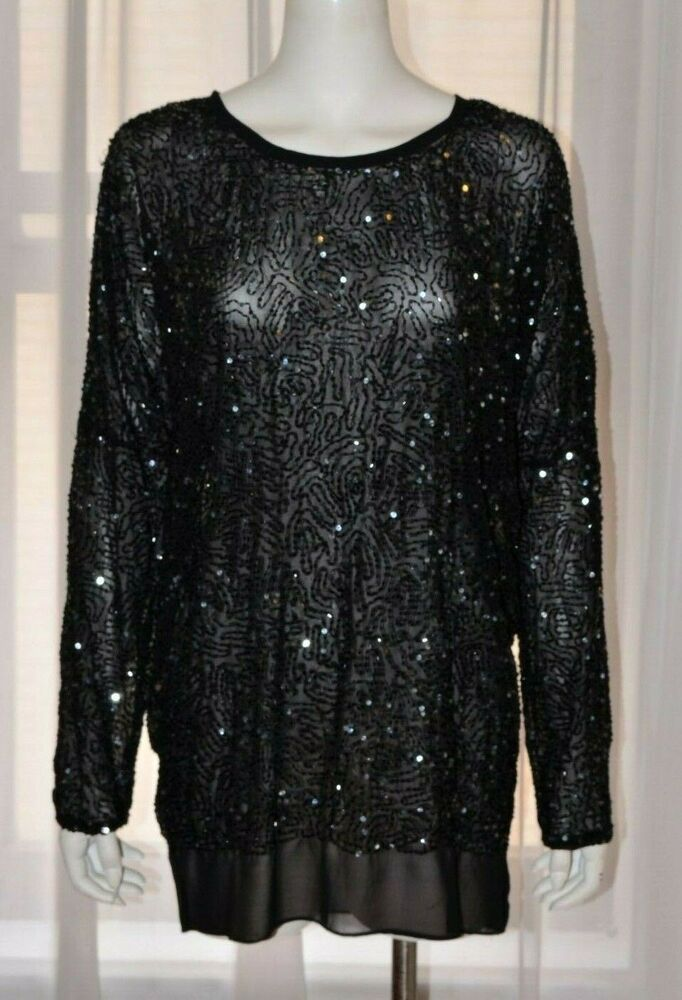 Black Gold Glam Sparkle Evening Cocktail Party Top Blouse 120 mv Tunic S M L