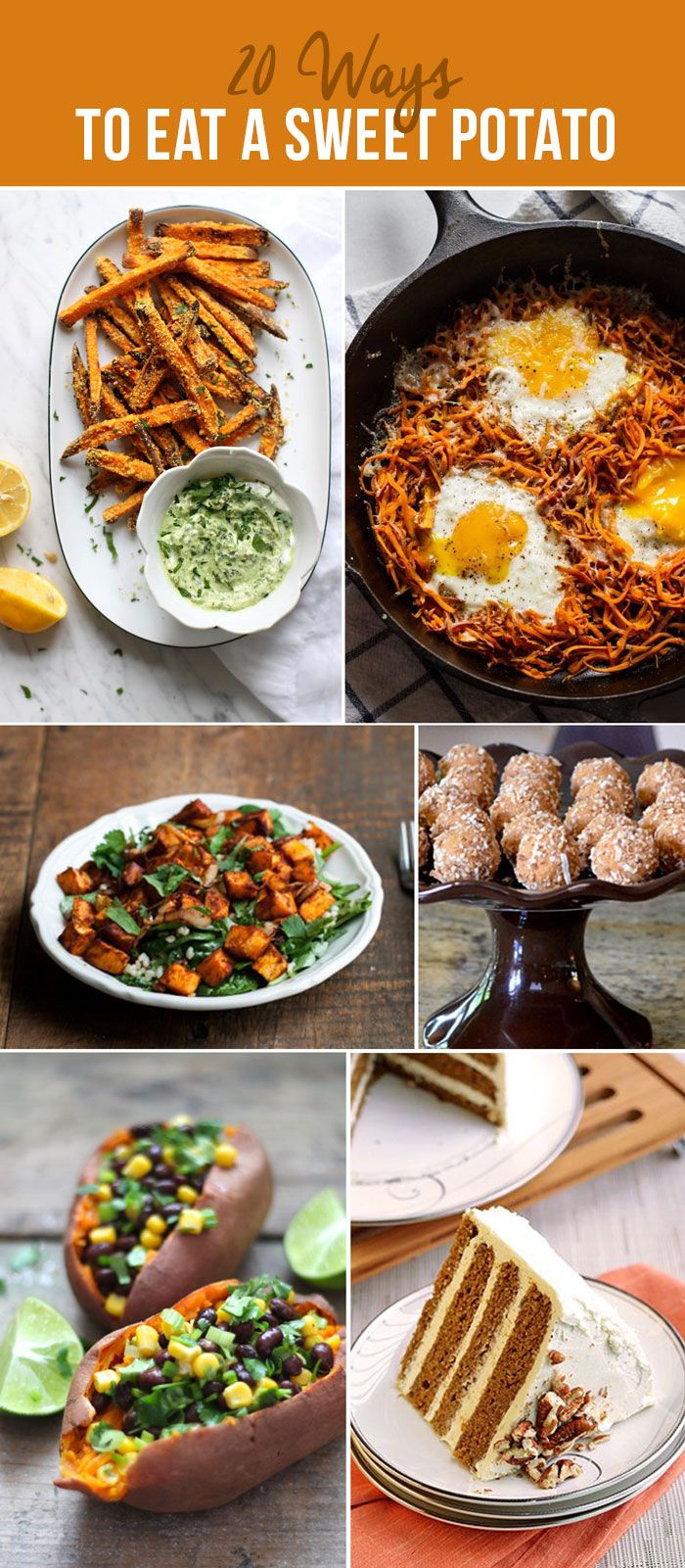 20 Ways to eat a sweet potato- Delicious recipes (including dinner, vegetarian, salad, soup AND desserts!)- You'll be stocked for life!
