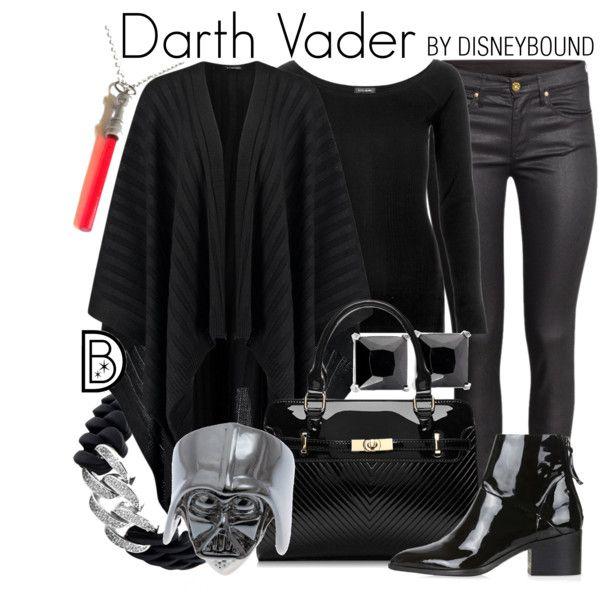Darth Vader by leslieakay on Polyvore featuring River Island, H&M, Topshop, The Rubz, disney, disneybound, starwars and disneycharacter