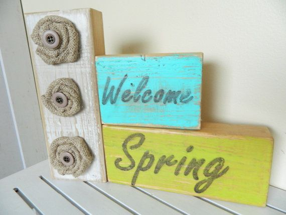 Welcome Spring with Burlap by FayesAttic11Crafts Ideas, Burlap Flowers, Fashion Style, Spring Decor, Home Decor, Spring Summe, Spring Ideas, Block Ideas, Spring East