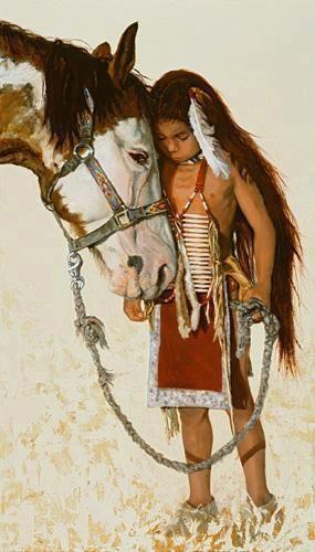 Young Brave with his horse Imagen que transmite carga emocional.. Vida y belleza sobrenatural