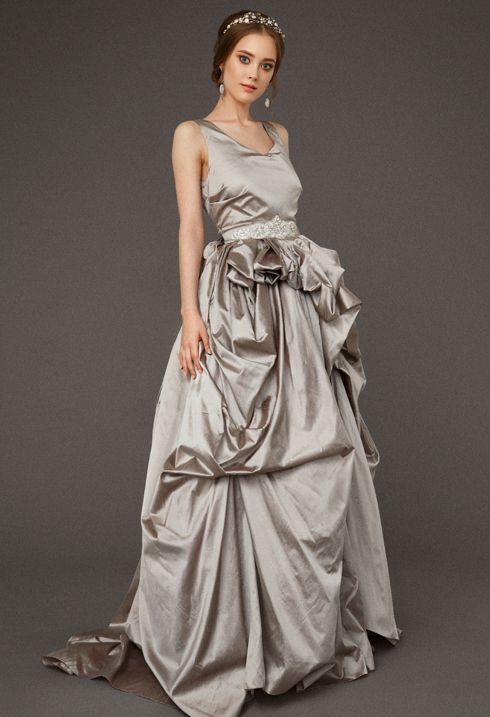 2016 Bridal couture Victoria Spirina www.etsy.com/... Quinceanera gorgeous fluffy wedding dress has made from Italian taffeta by couture Victoria Spirina #wedding #dress #grey #bridal #gown #Quinceanera