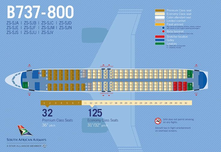 SAA Boeing 737-800 seat map