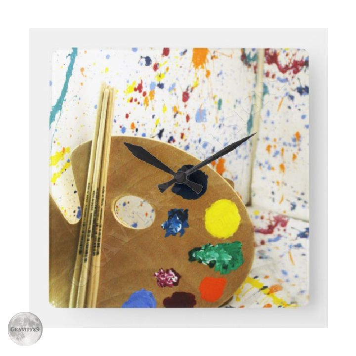 Artists Paint Splatter And Pallet Of Paint Clock By Picturethisandthat At Zazzle Gravityx9 Available In Artist Paint Paint Cards Christmas Tree Painting