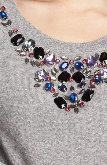 Halogen® Jewel Neck Cashmere Sweater