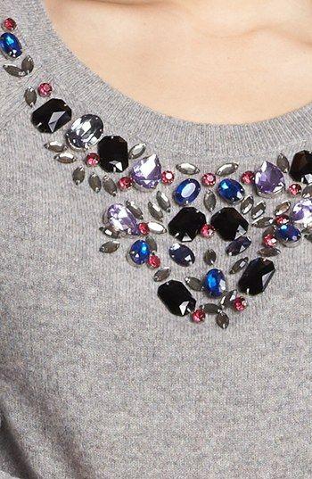 Halogen® Jewel Neck Cashmere Sweater