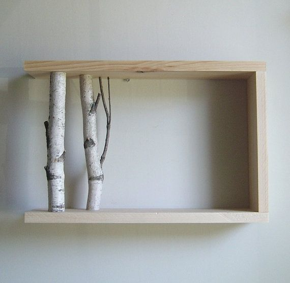 White Birch Forest - organic wall art/box shelf