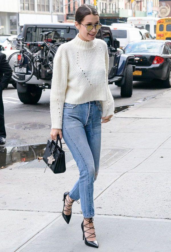 bella-hadid-street-style-denim-white-tricot-lace-up-heels