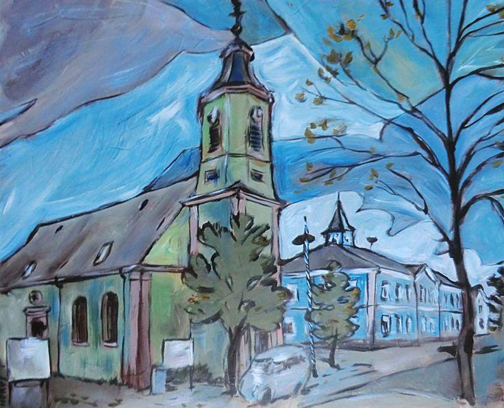Aus der Reihe Nachbargemeinden. Teil 1: Altlussheim / Acryl auf Leinwand, Abm. 60 x 50 cm