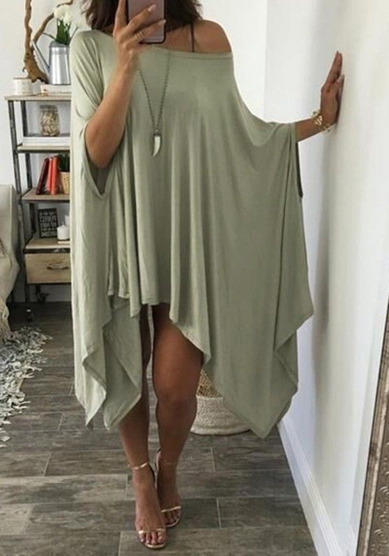 Green Plain Irregular Round Neck Fashion Maxi Dress