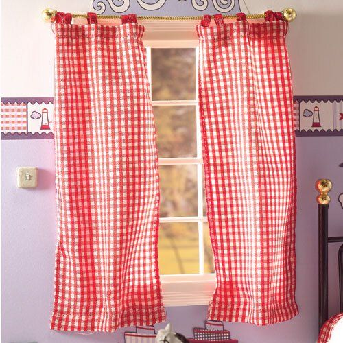 Red Gingham Tab-top Curtains Check Out: Missdollhouse.com