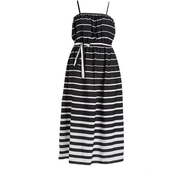 Alisha Chloe Black & White Stripe Smock Tub Dress ($15) ❤ liked on Polyvore featuring plus size women's fashion, plus size clothing, plus size dresses, plus size, white and black long dress, striped dresses, black and white long dress, tube dress and black and white dress