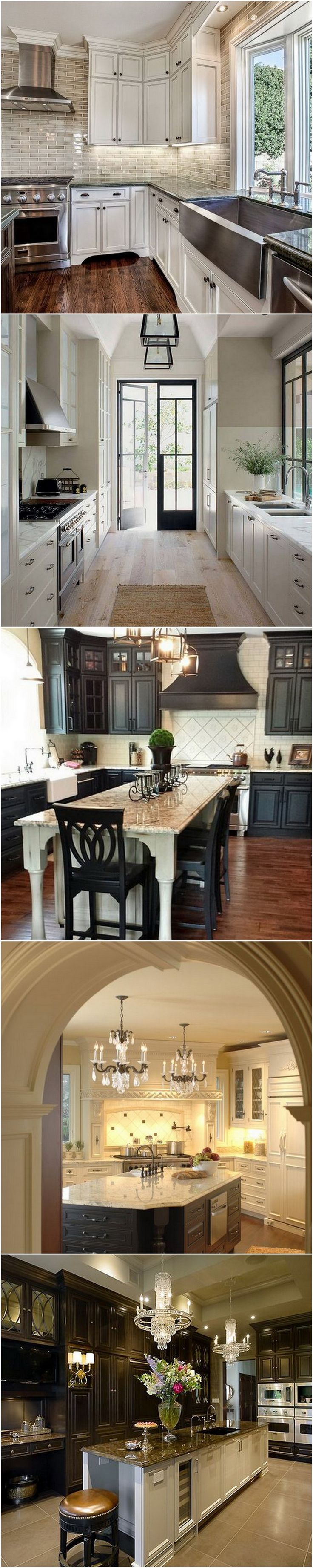 love the hood with crown around ceiling! Love stainless apron sink! Also love the way the hood on the third picture is not touching cabinets on either side!