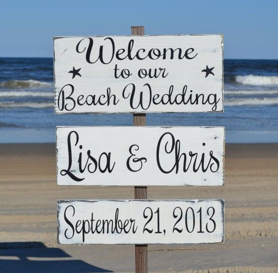 Beach Wedding Signage - Beach Wedding Decor - Directional Arrow Welcome Sign - Rustic Outdoor - Coastal Nautical - Personalize Custom