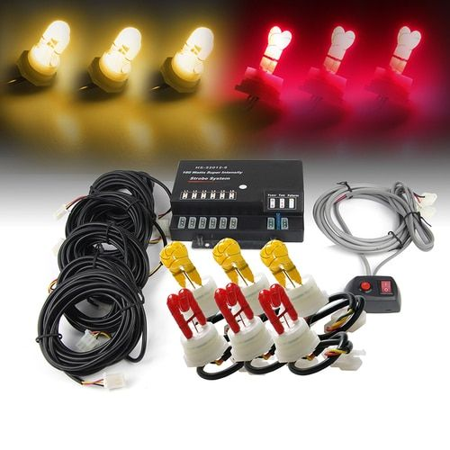 Xprite Amber/Red 120W 6 HID Bulbs Hide-A-Way Strobe Lights