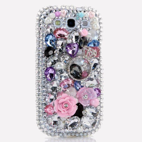 3D Luxury Swarovski Crystal Sparkle Diamond Bling Silver Pink Ring Flowers Design Case Cover for Samsung Galaxy S4 S 4 IV i9500 fits Verizon, AT&T, T-mobile, Sprint and other Carriers (Handcrafted by BlingAngels) by BlingAngels, http://www.amazon.ca/dp/B00CS96XV6/ref=cm_sw_r_pi_dp_kXaptb1FRAFPS