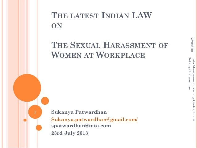 Indian Law on Sexual Harassment of Women at Workplace - 2013