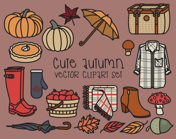 Premie Vector Clipart - leuke herfst Clipart - Kawaii val Clip Art Set - hoge kwaliteit vectoren - Instant Download - Kawaii Fashion Clipart