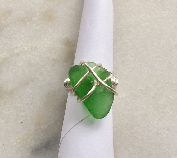 Green Texas SeaGlass Wire Wrapped Ring size 5 ~ Present ideas for Mom, Grandmother ~ Birthday gift for Mermaids, Beach Lovers ~ Beach glass